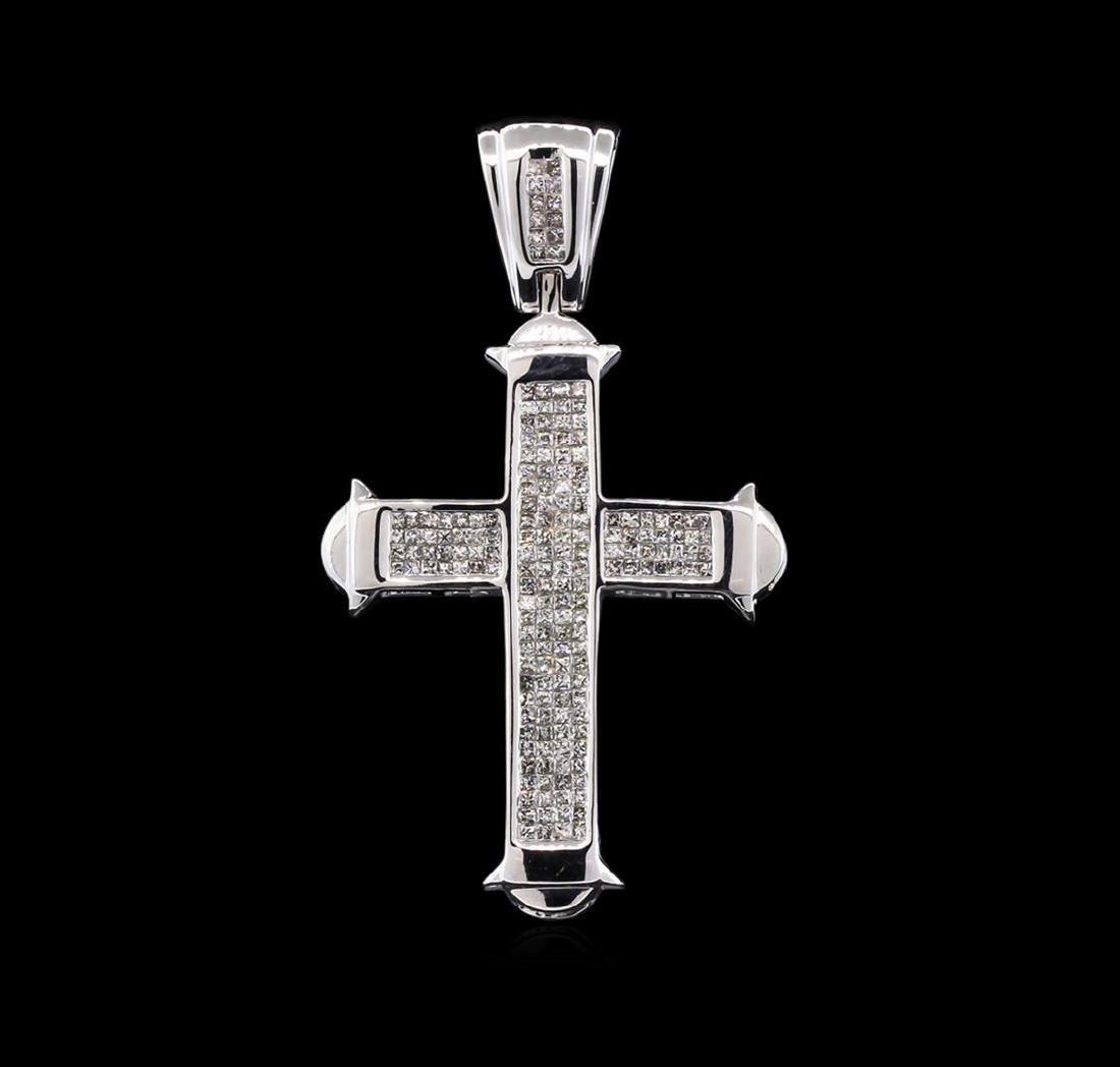 3.00 ctw Diamond Cross Pendant - 14KT White Gold