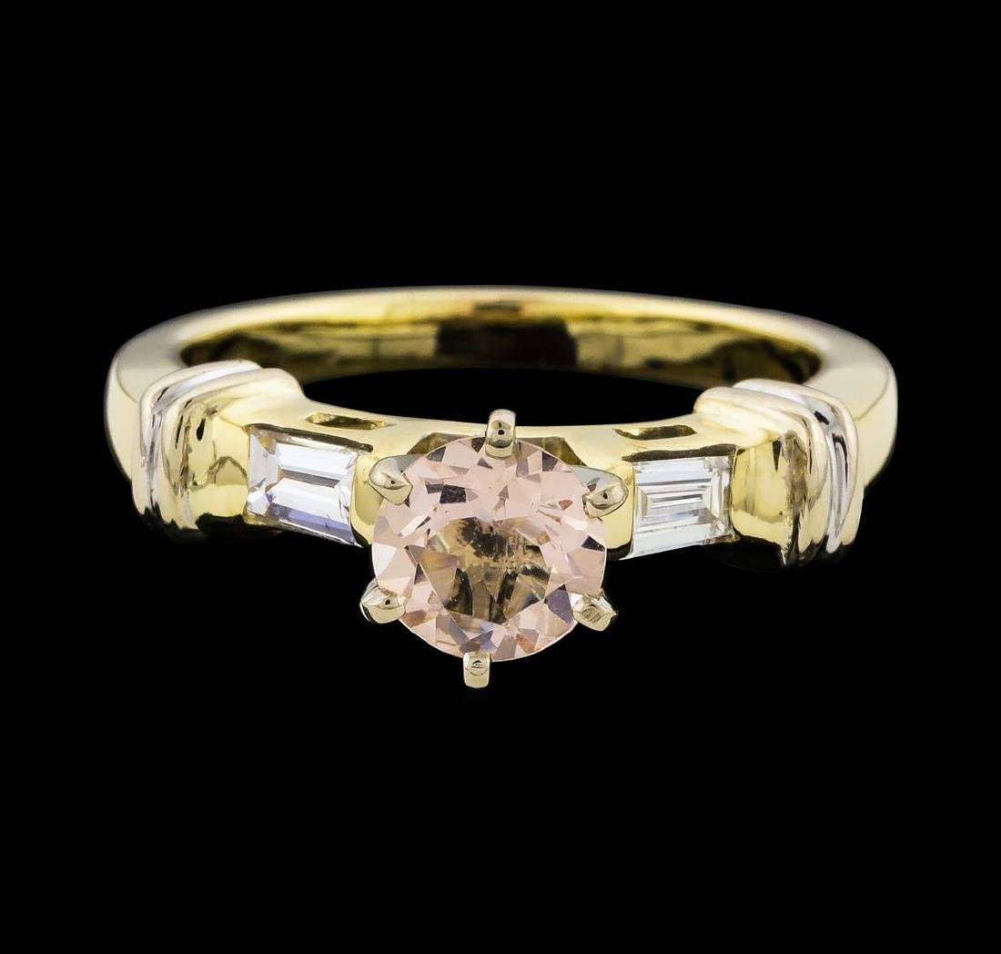 0.63 ctw Morganite and Diamond Ring - 14KT Yellow Gold - 2