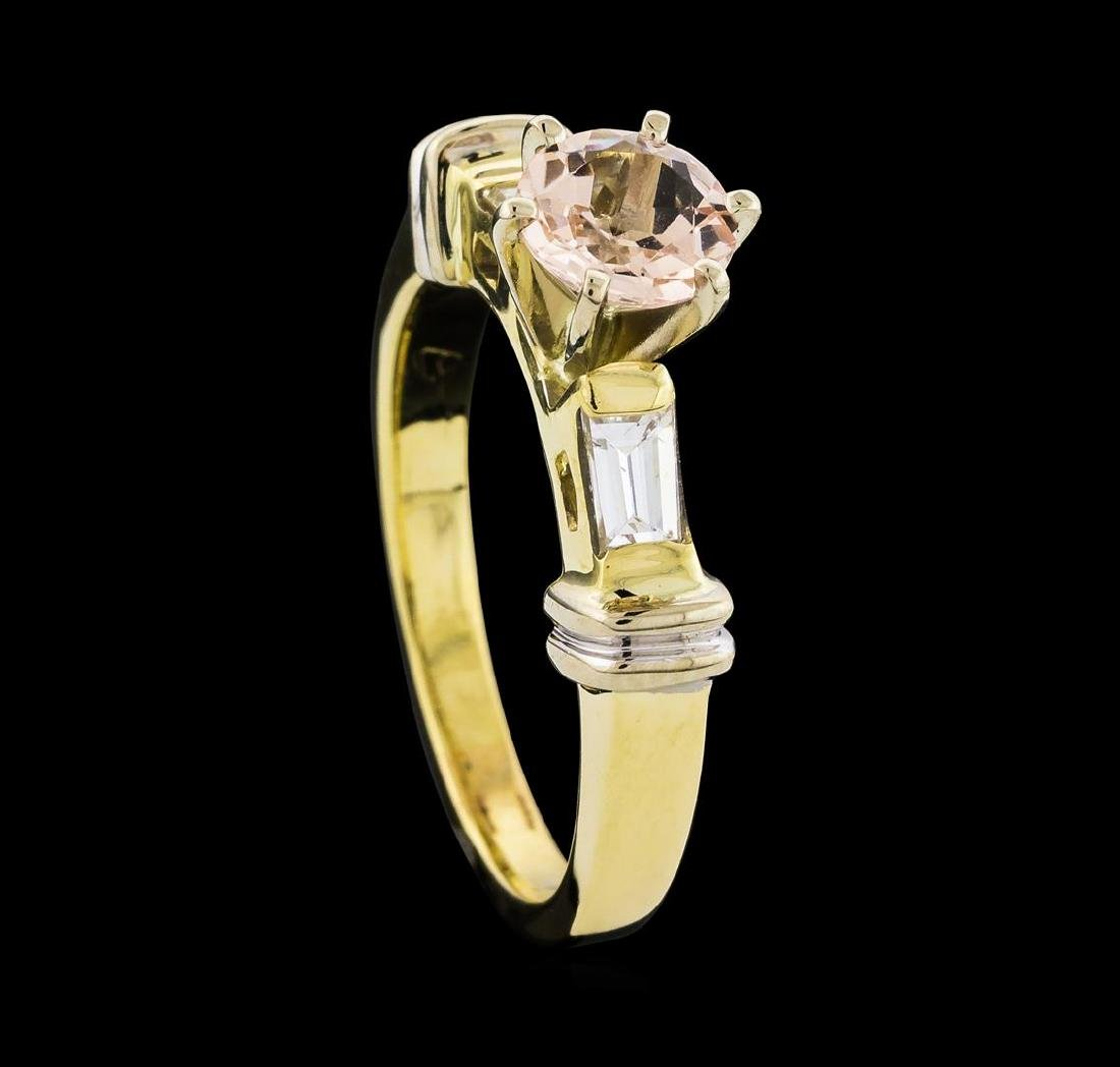 0.63 ctw Morganite and Diamond Ring - 14KT Yellow Gold - 4