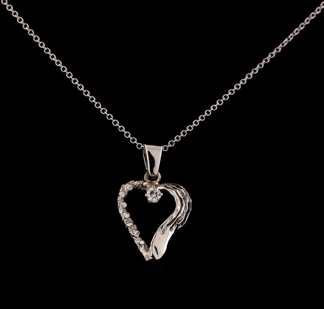 0.08 ctw Diamond Pendant With Chain - 14KT White Gold