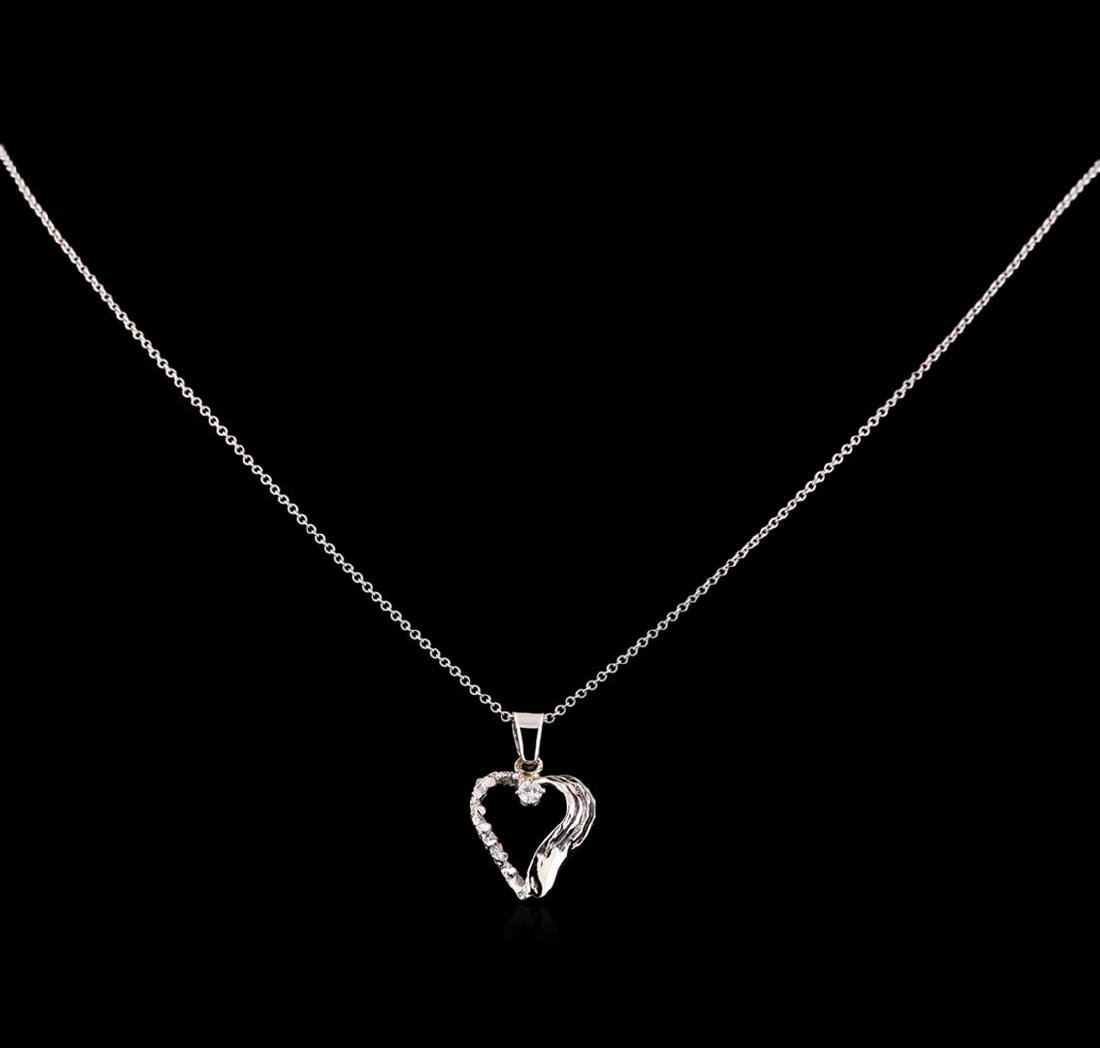0.08 ctw Diamond Pendant With Chain - 14KT White Gold - 2