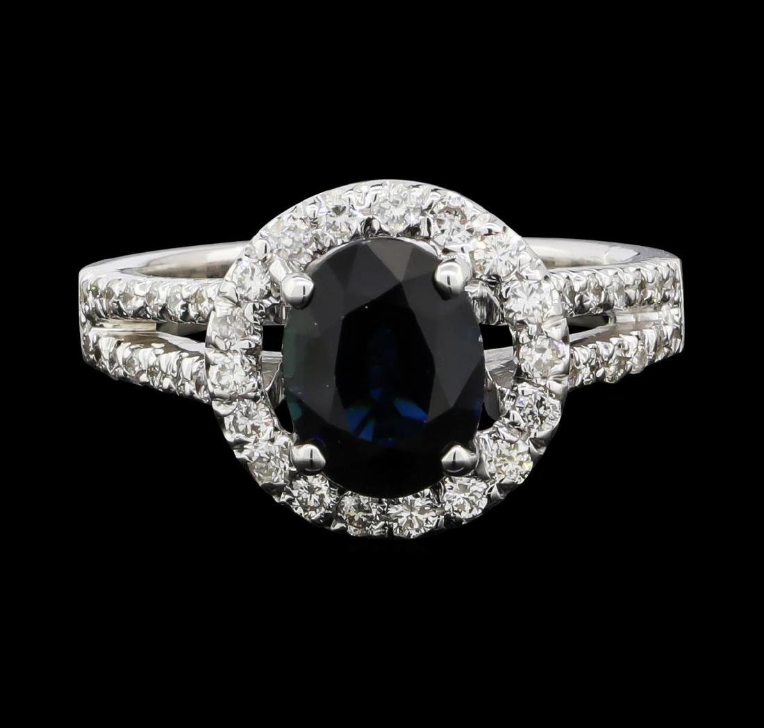 1.61 ctw Sapphire and Diamond Ring - 14KT White Gold - 2