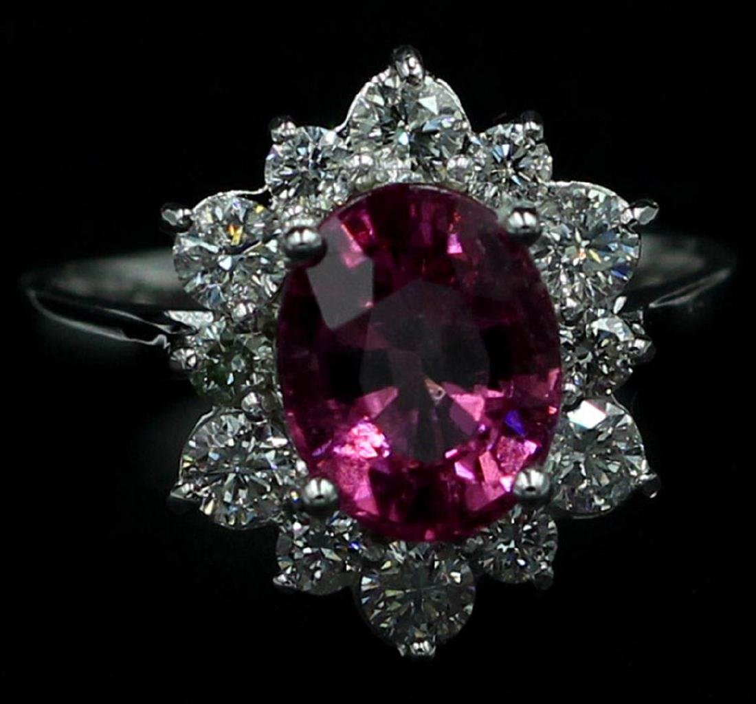 2.82 ctw Pink Tourmaline and Diamond Ring - 14KT White