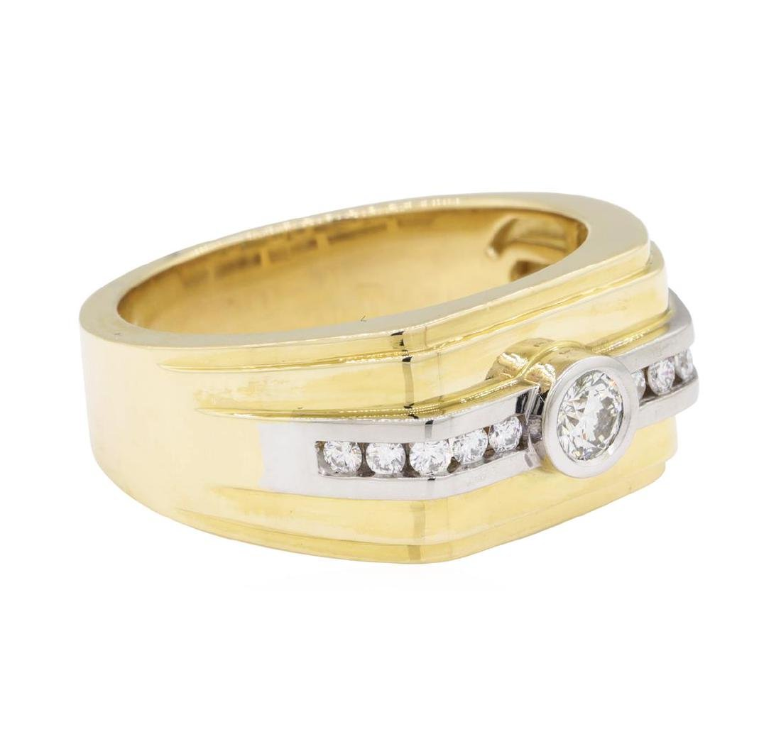0.48 ctw Diamond Ring - 14KT Yellow and White Gold - 2