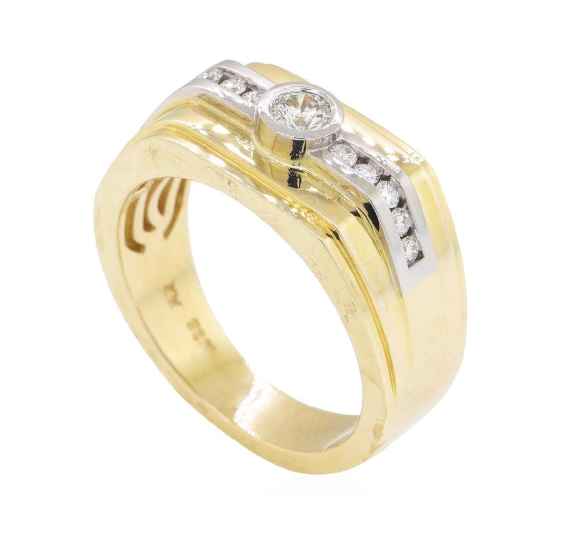 0.48 ctw Diamond Ring - 14KT Yellow and White Gold - 4