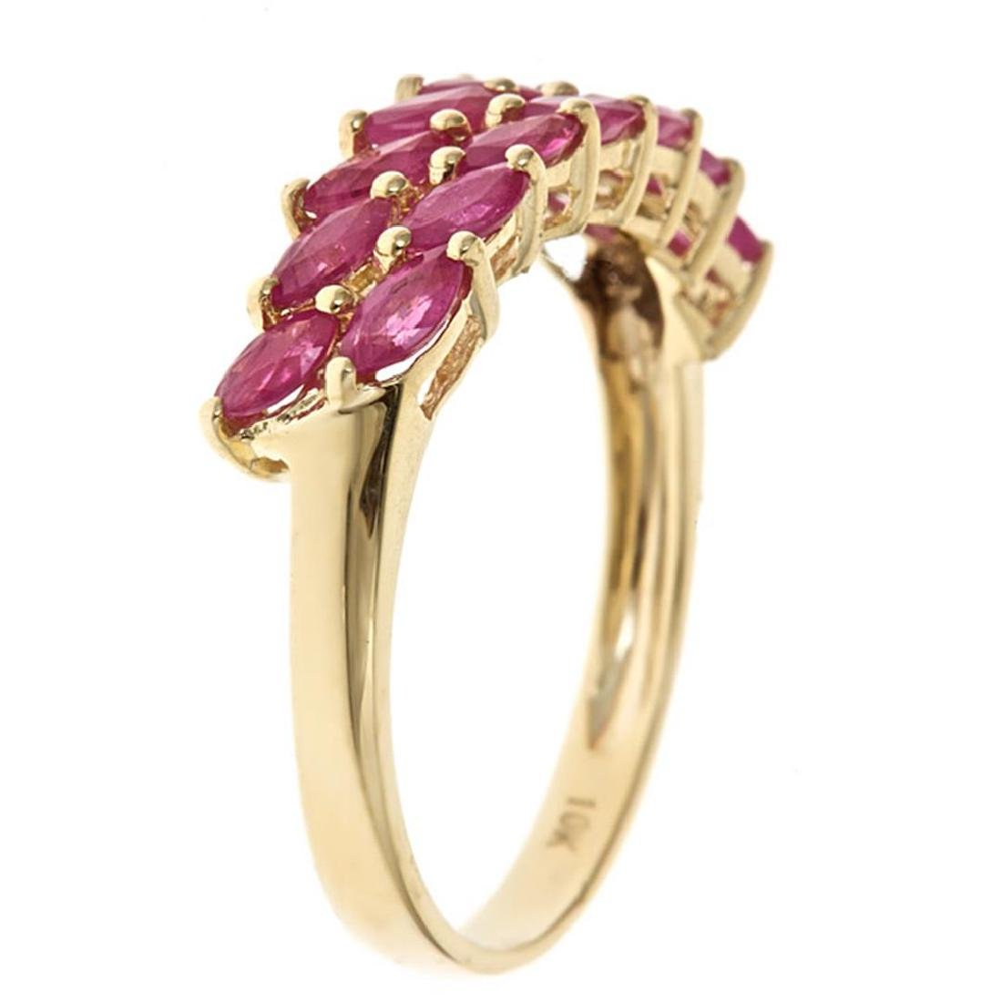 1.37 ctw Ruby Ring - 10KT Yellow Gold - 2