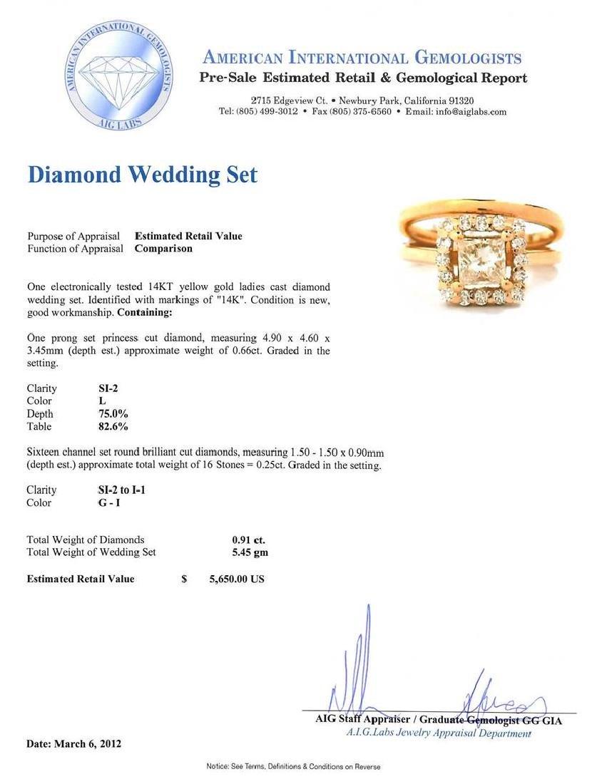 14KT Yellow Gold 0.91 ctw Diamond Wedding Set - 5