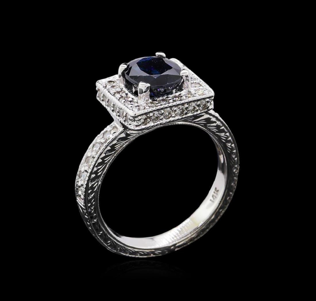1.68 ctw Sapphire and Diamond Ring - 14KT White Gold - 4