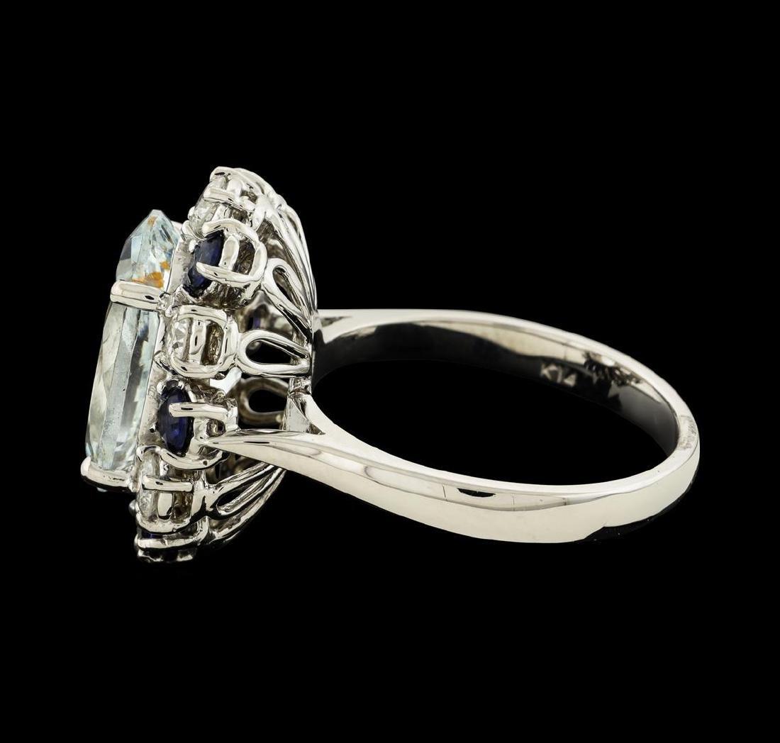 4.96 ctw Aquamarine, Sapphire and Diamond Ring - 14KT - 3