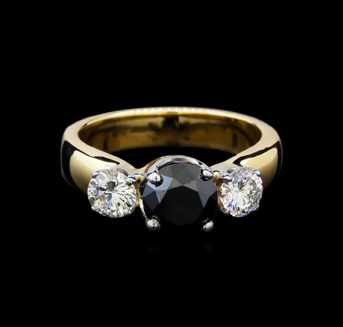 2.11 ctw Black and White Diamond Ring - 14KT Yellow - 2