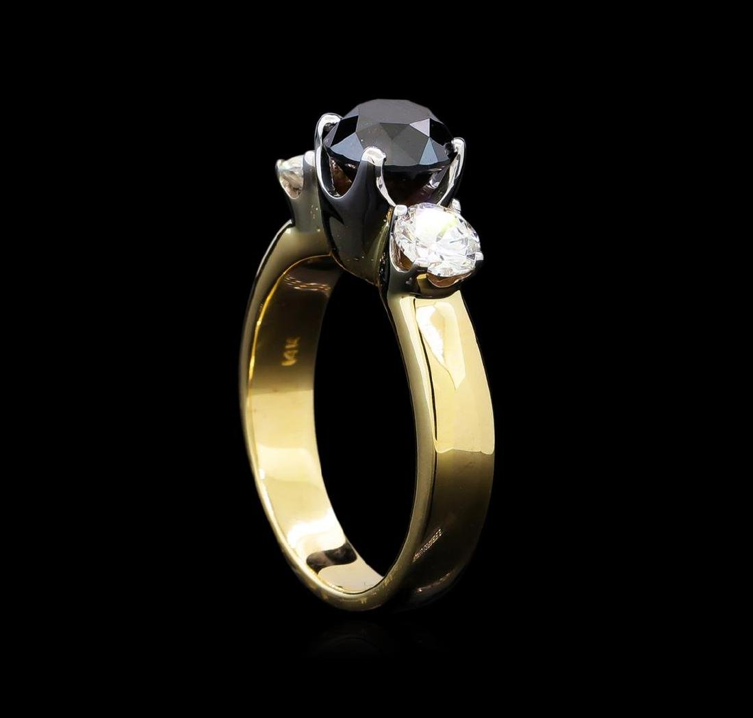 2.11 ctw Black and White Diamond Ring - 14KT Yellow - 4