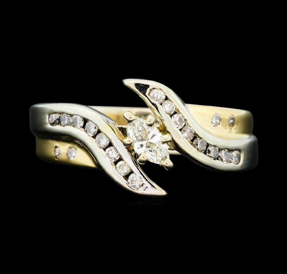 0.50 ctw Diamond Ring - 14KT Yellow and White Gold - 2