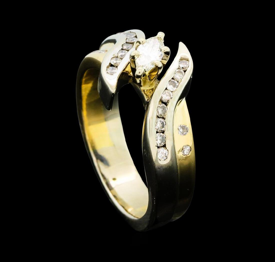 0.50 ctw Diamond Ring - 14KT Yellow and White Gold - 4