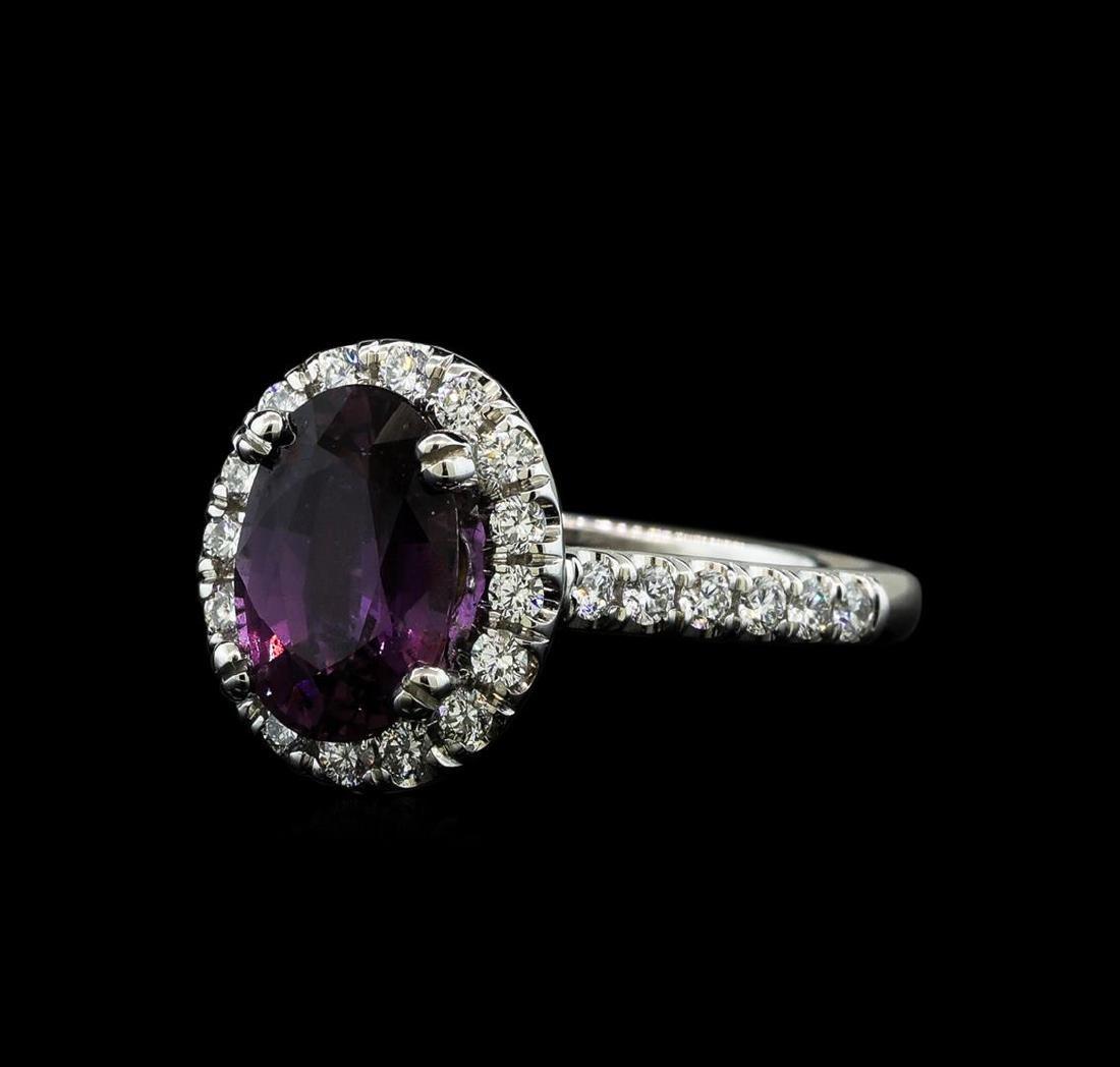 2.66 ctw Purple Sapphire and Diamond Ring - 14KT White