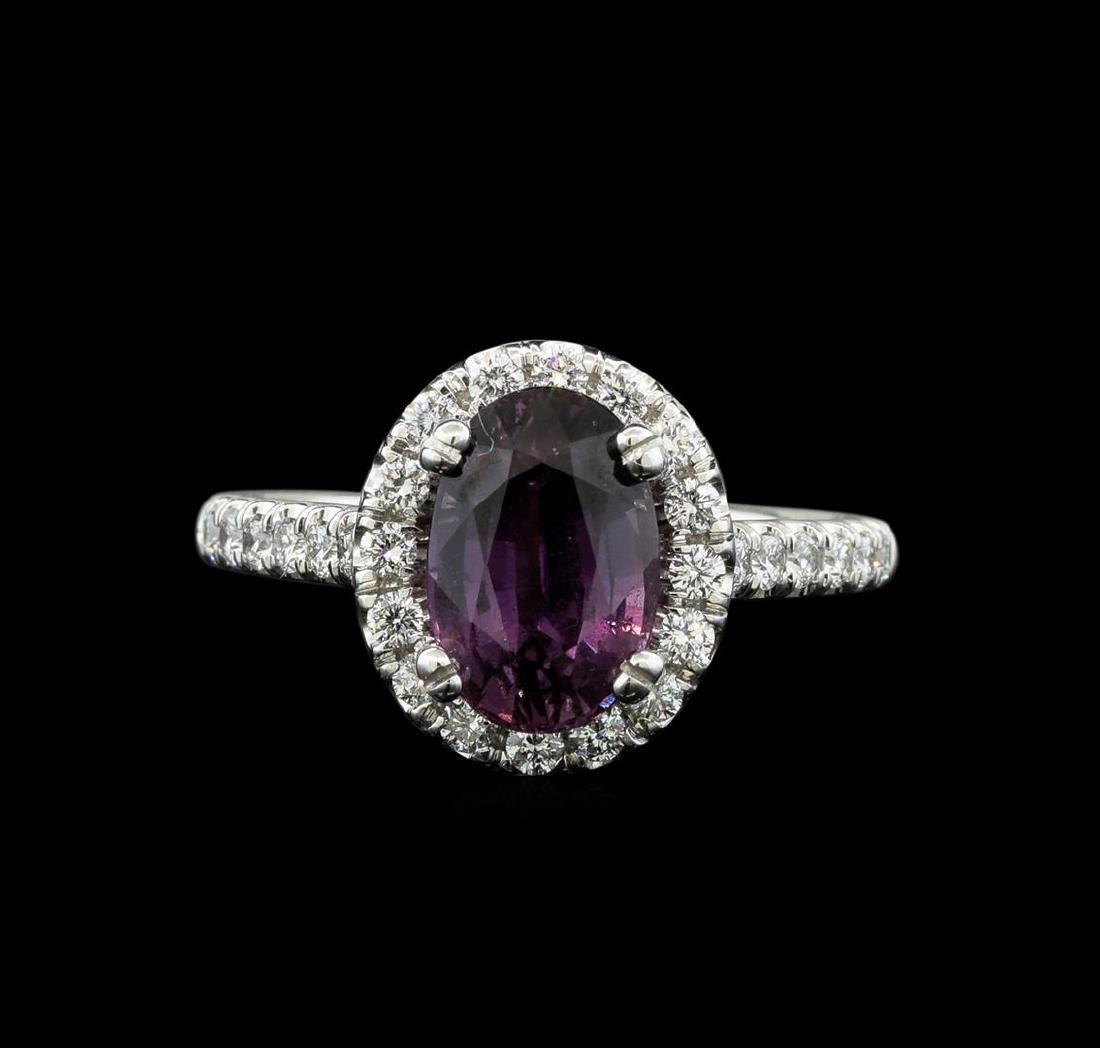 2.66 ctw Purple Sapphire and Diamond Ring - 14KT White - 2