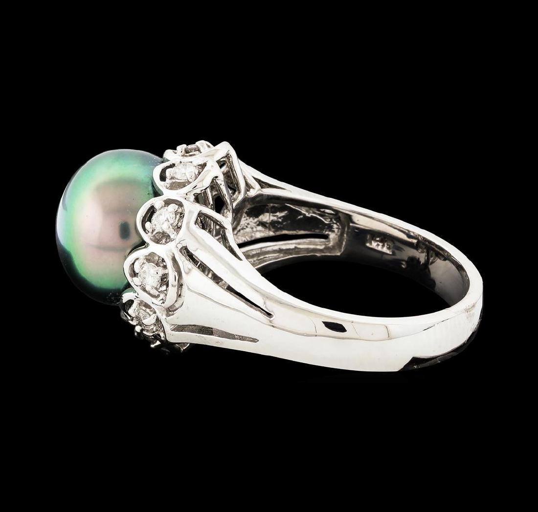 Pearl and Diamond Ring - 14KT White Gold - 3