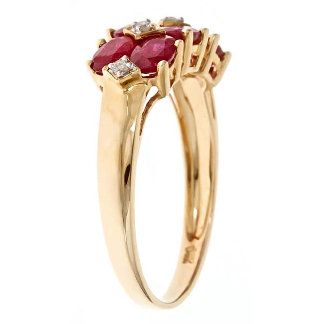 2.09 ctw Ruby and Diamond Ring - 14KT Yellow Gold - 2