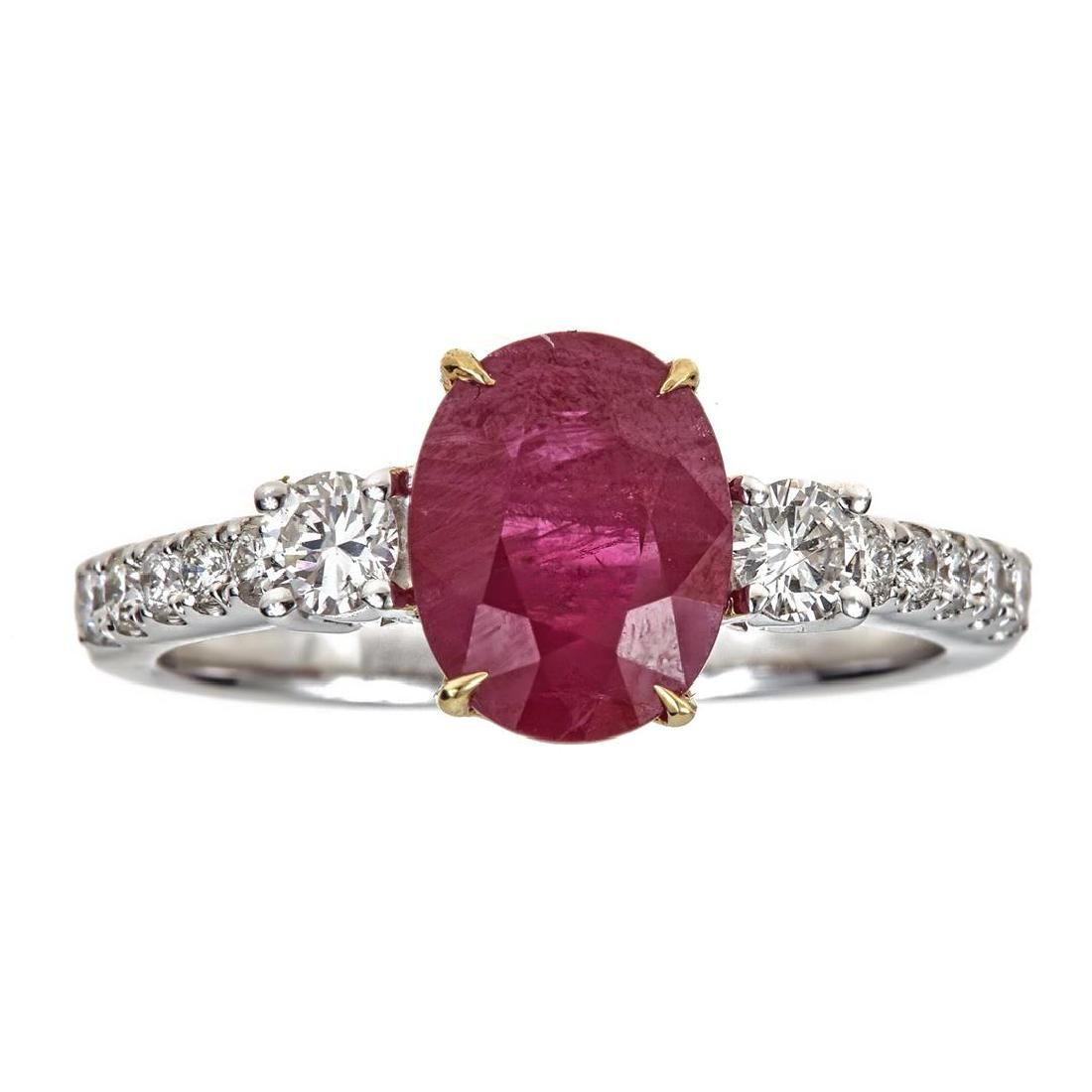 2.99 ctw Ruby and Diamond Ring - 18KT White and Yellow