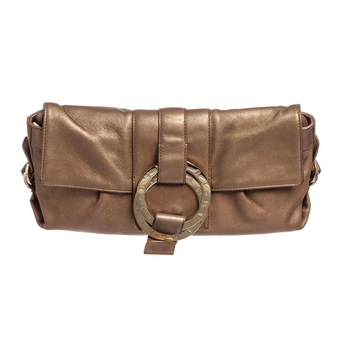 Bvlgari Metallic Bronze Leather Flap Convertible Clutch
