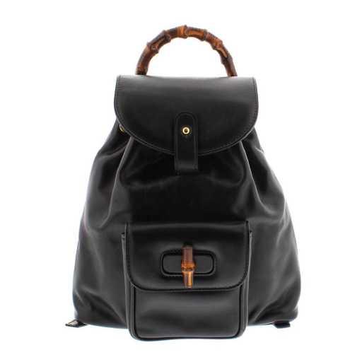 Gucci Black Leather Drawstring Bamboo Mini Backpack bad937abc7