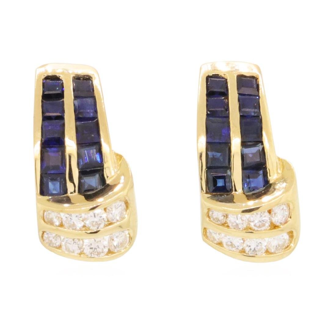 1.0 ctw Blue Sapphire Earrings - 14KT Yellow Gold