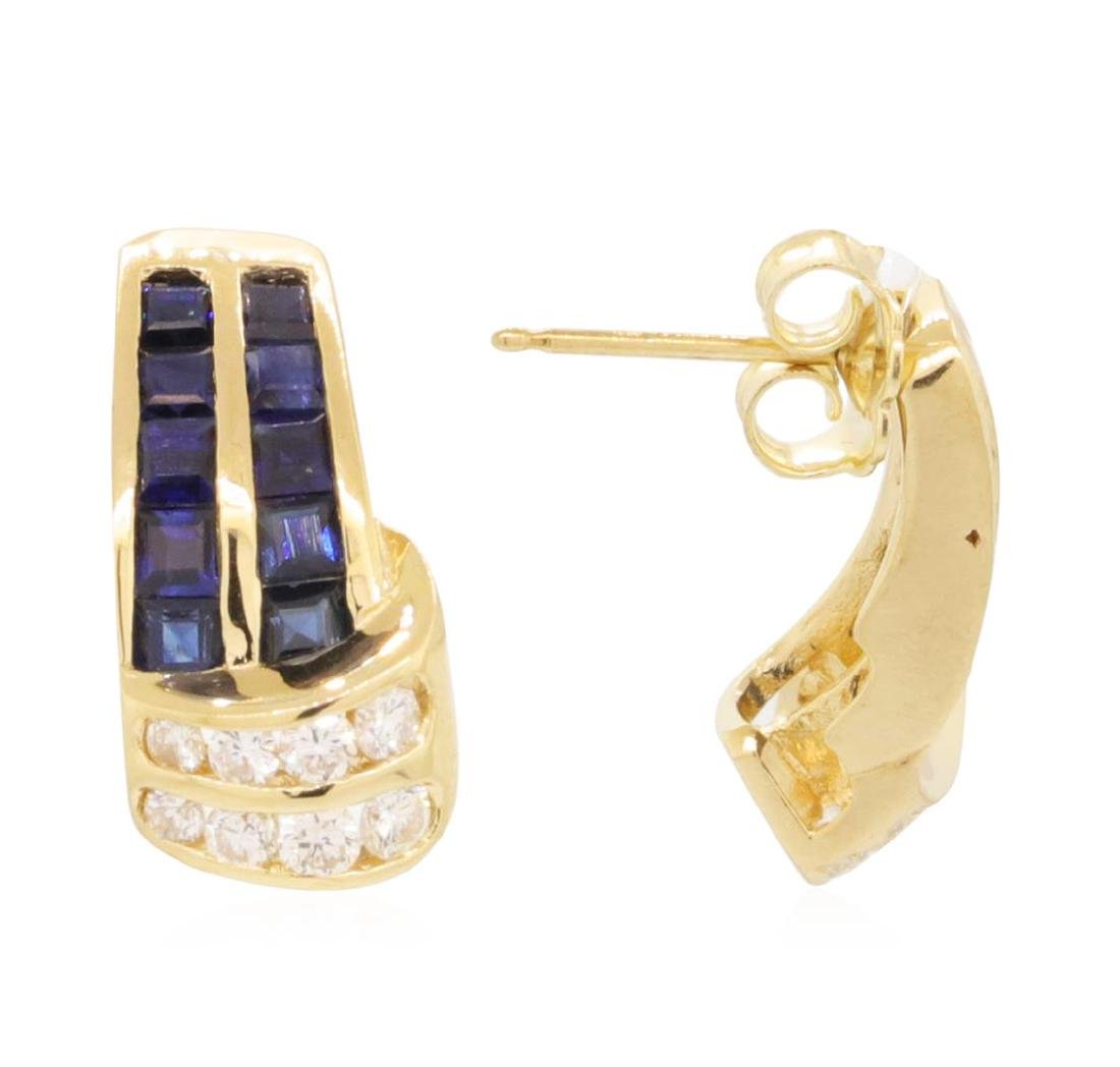 1.0 ctw Blue Sapphire Earrings - 14KT Yellow Gold - 2