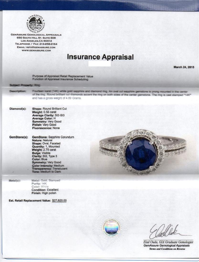 2.75 ctw Blue Sapphire and Diamond Ring - 14KT White - 2