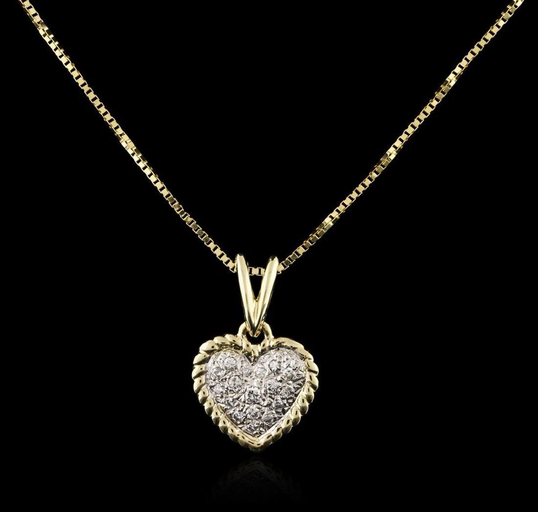 14KT Yellow Gold 0.10 ctw Diamond Heart Pendant With