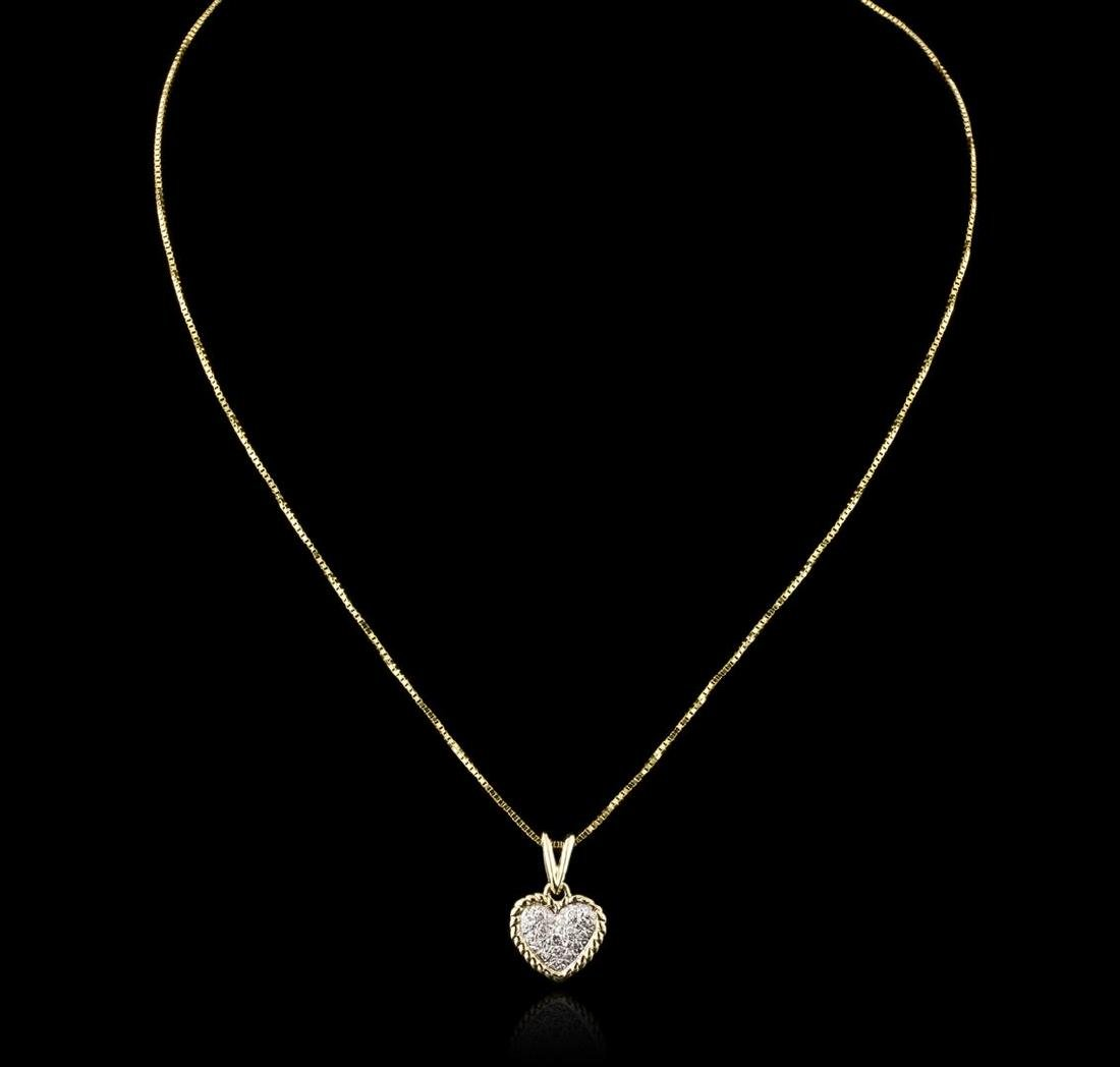 14KT Yellow Gold 0.10 ctw Diamond Heart Pendant With - 2
