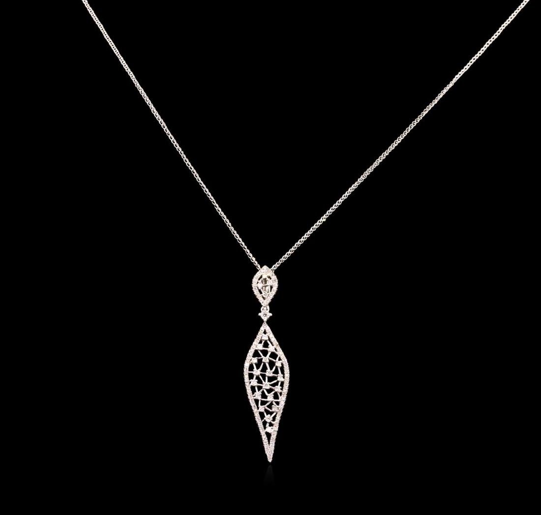 0.86 ctw Diamond Pendant With Chain - 14KT White Gold - 2