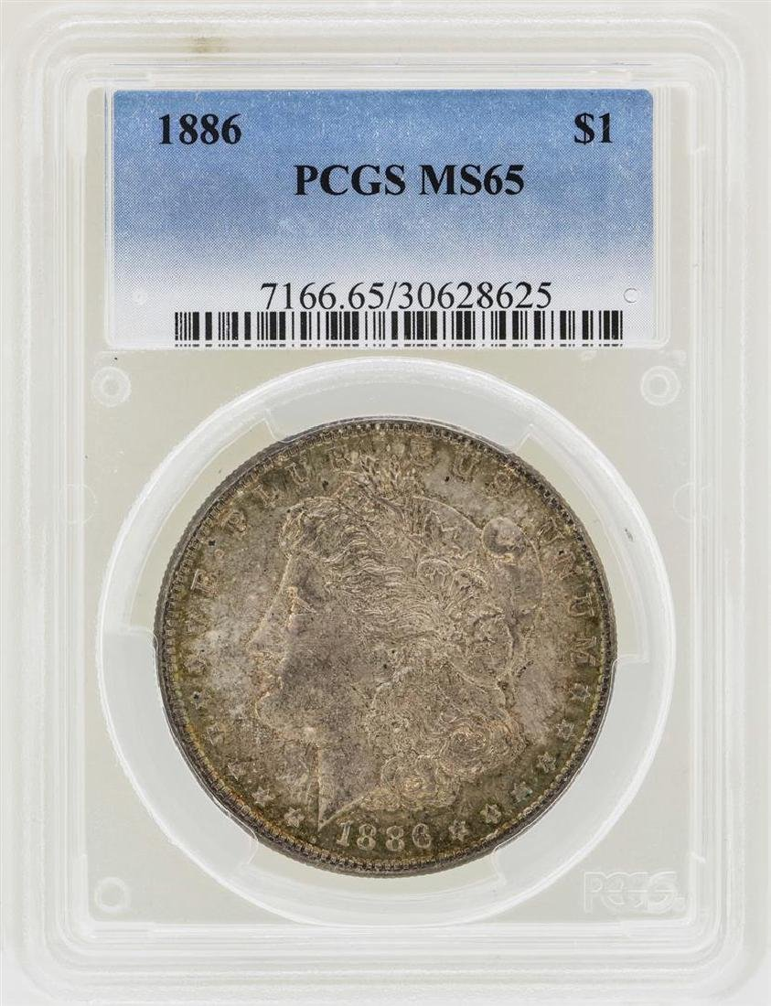 1886 $1 Morgan Silver Dollar Coin PCGS MS65