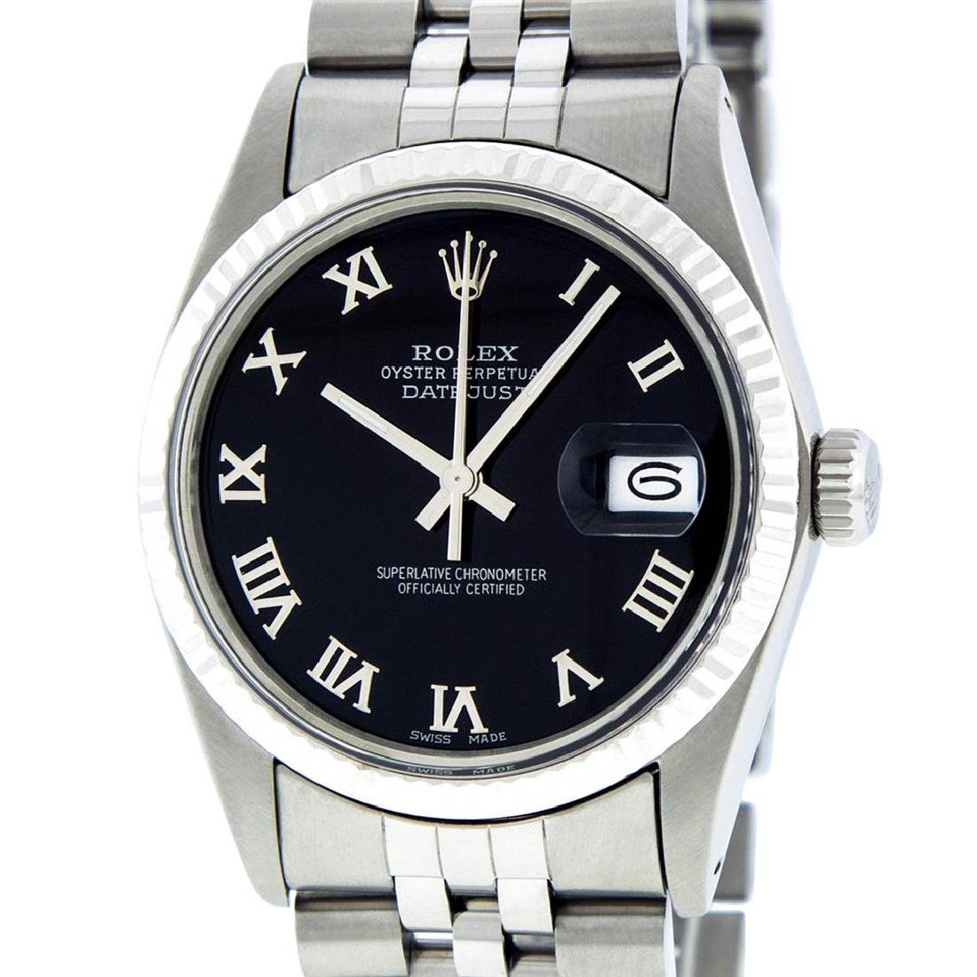 Rolex Mens Stainless Steel Black Roman Datejust 36MM