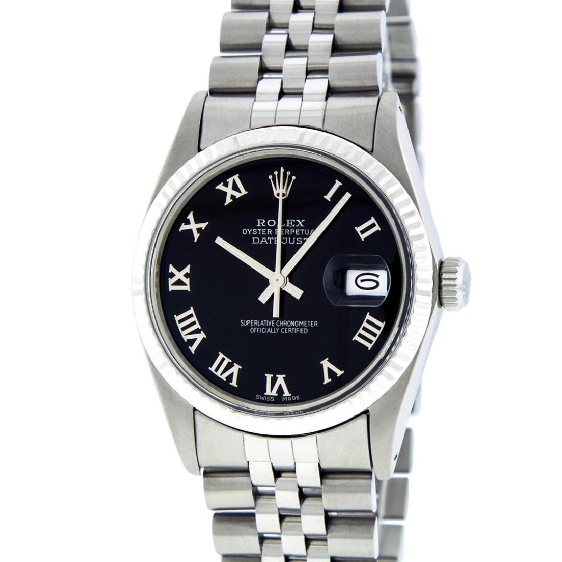 Rolex Mens Stainless Steel Black Roman Datejust 36MM - 2