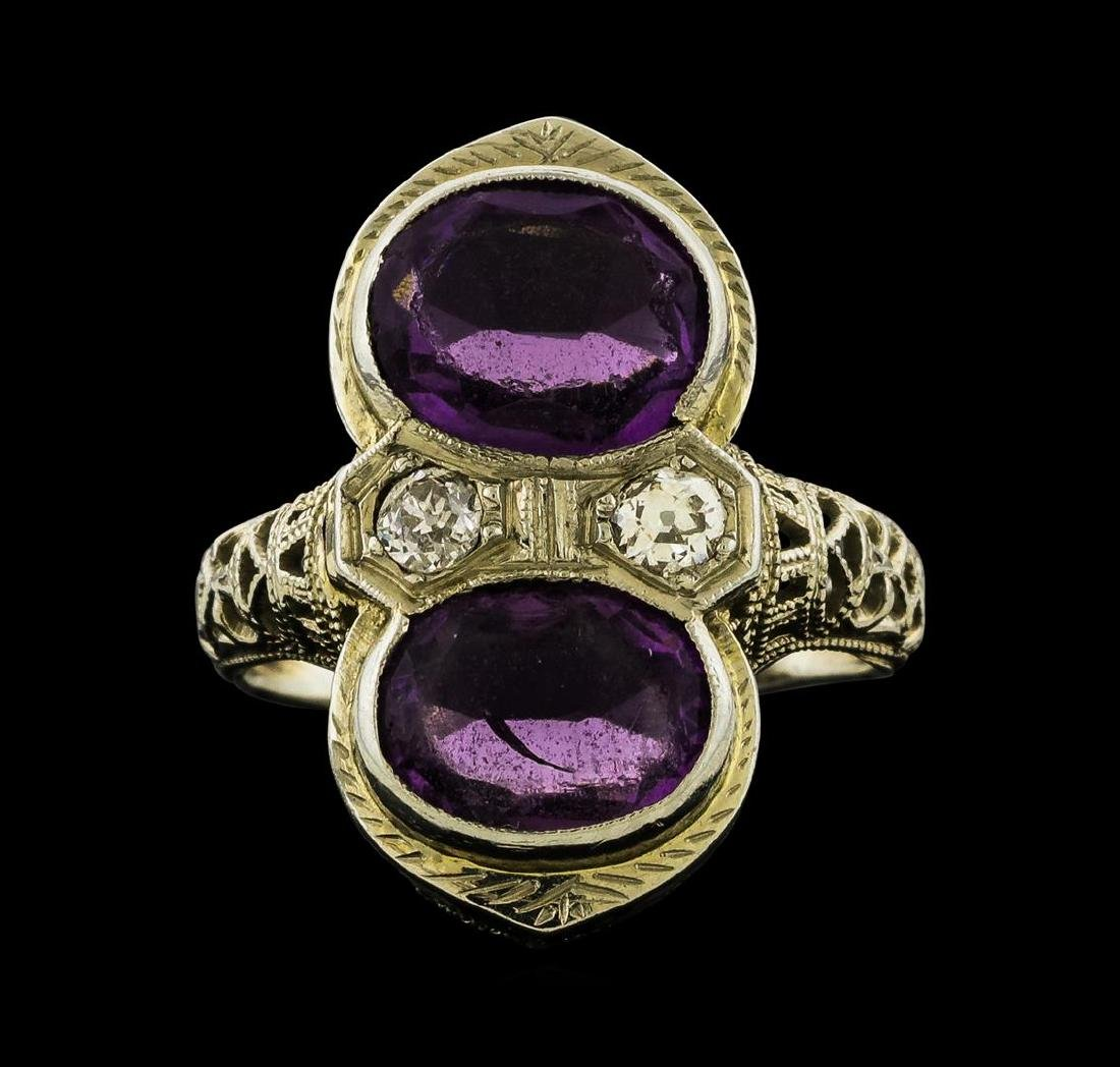 2.00 ctw Amethyst and Diamond Ring - 18KT White Gold - 2