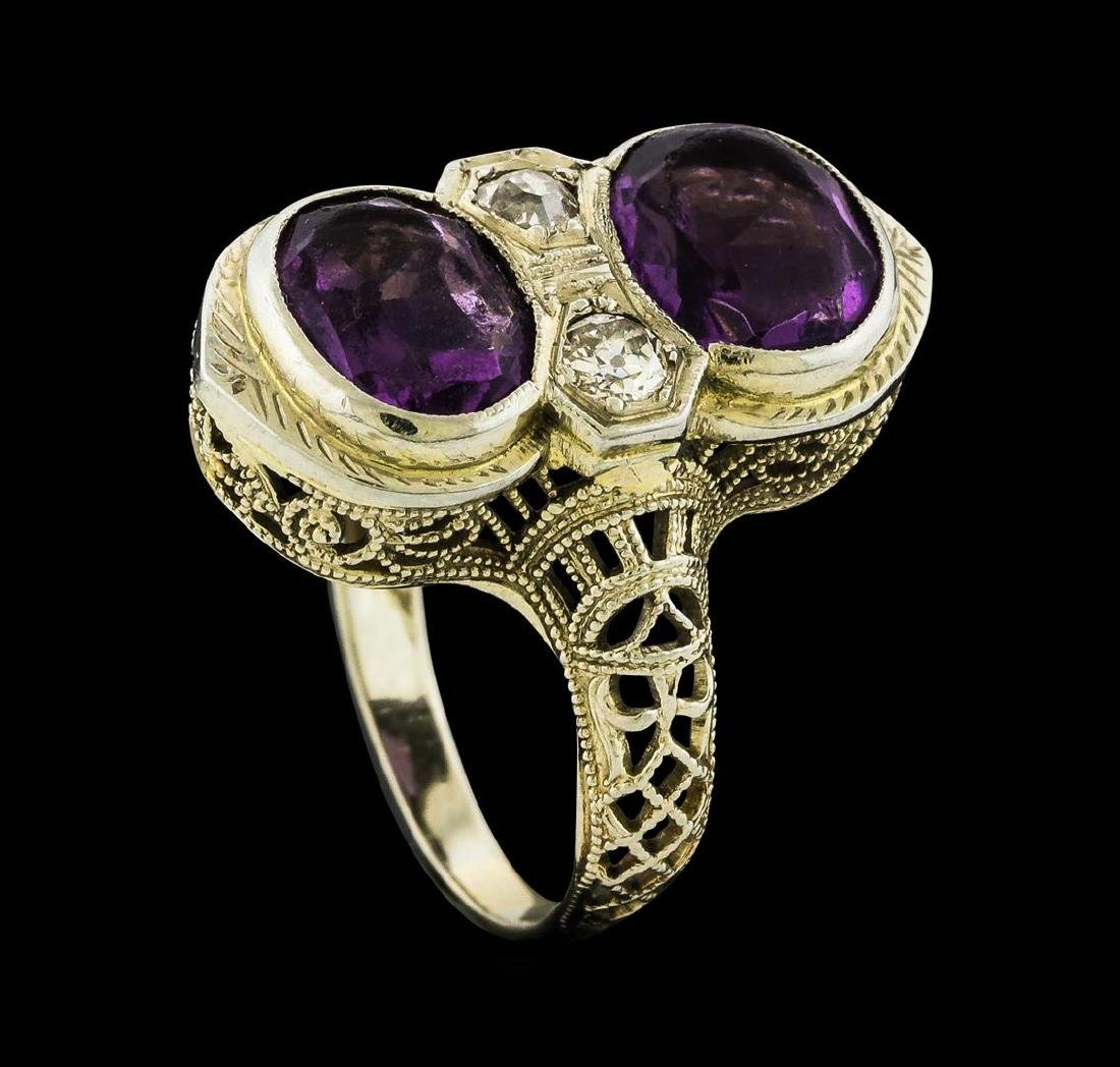 2.00 ctw Amethyst and Diamond Ring - 18KT White Gold - 4