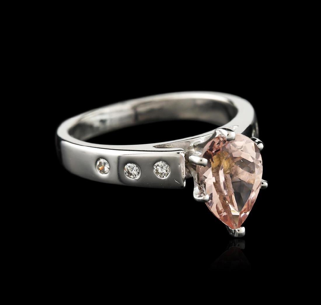 Platinum 1.42 ctw Morganite and Diamond Ring