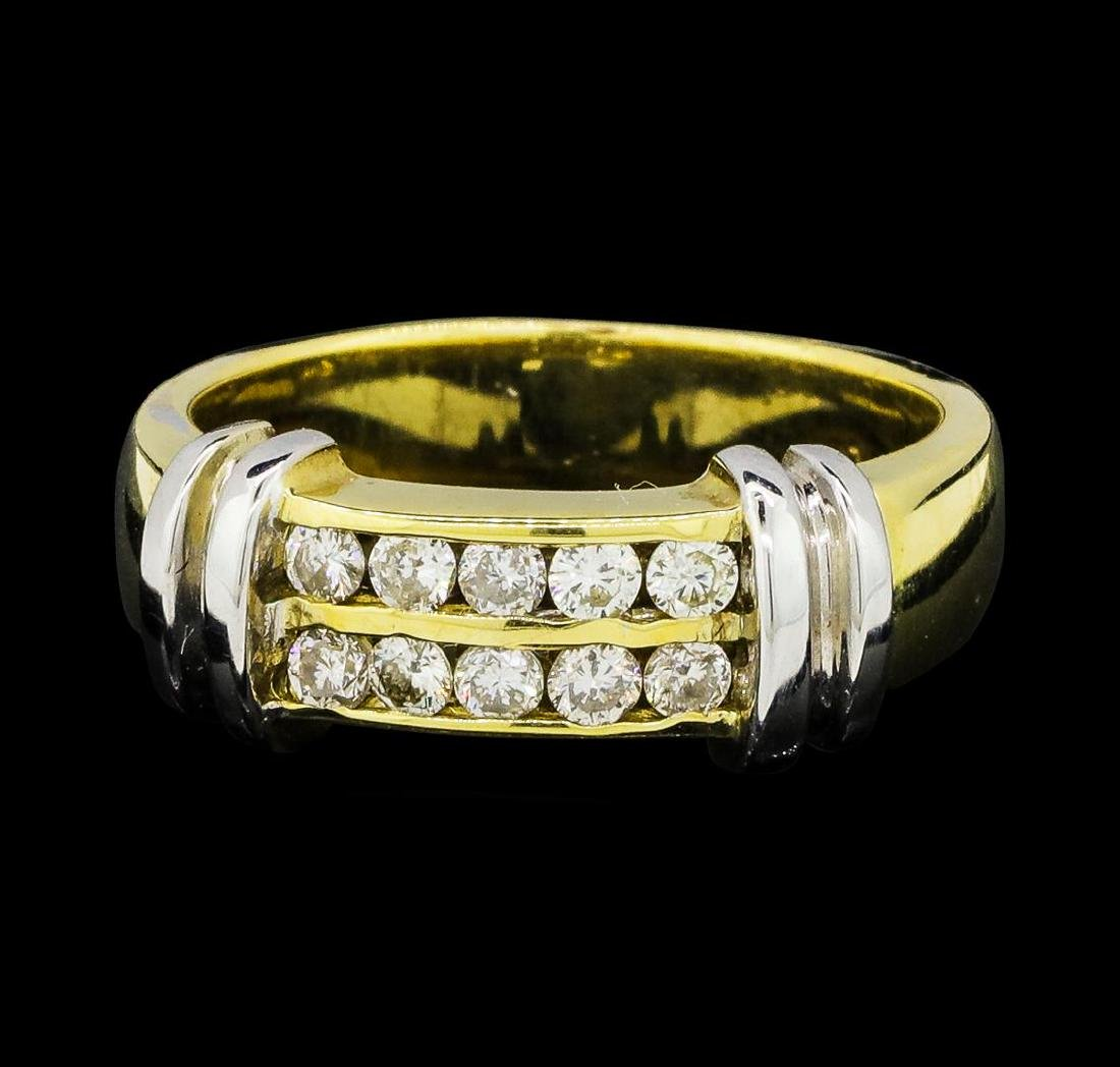 0.37 ctw Diamond Ring - 14KT Yellow and White Gold - 2