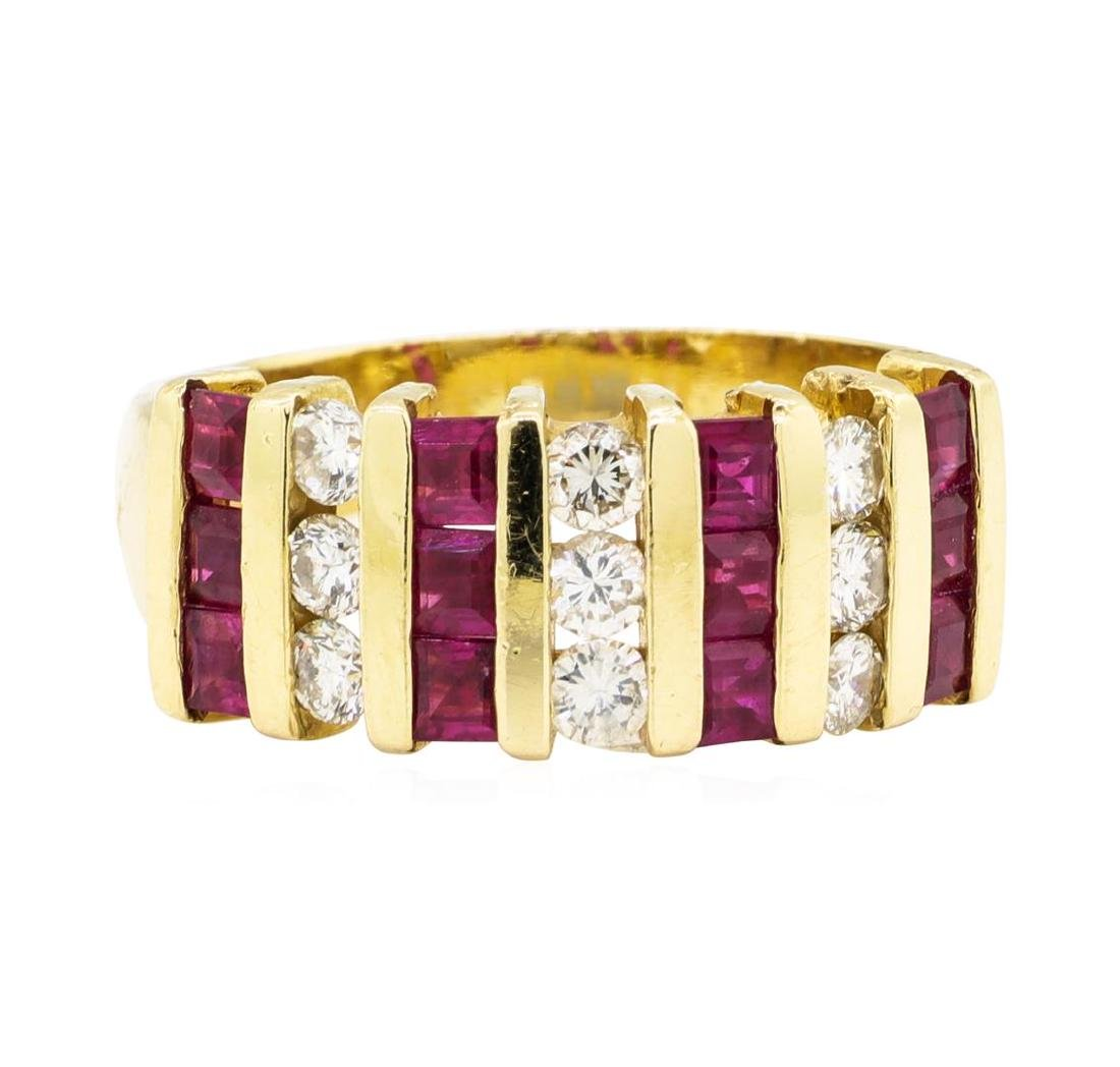 1.00 ctw Ruby and Diamond Ring - 14KT Yellow Gold - 3