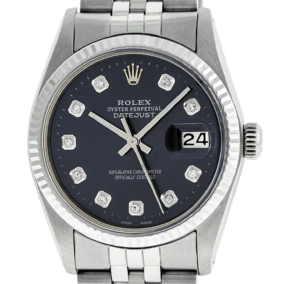 Rolex Mens Stainless Steel Black Diamond 36MM Datejust