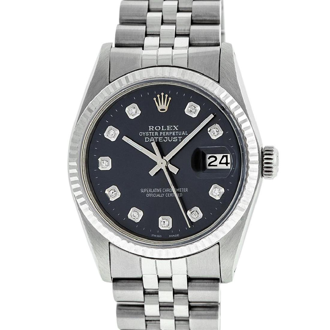 Rolex Mens Stainless Steel Black Diamond 36MM Datejust - 2