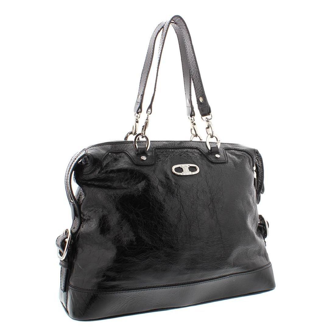 Celine Black Distressed Patent Leather Shoulder Handbag - 2
