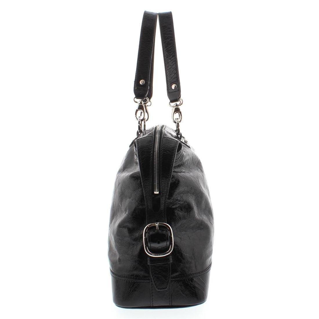 Celine Black Distressed Patent Leather Shoulder Handbag - 3