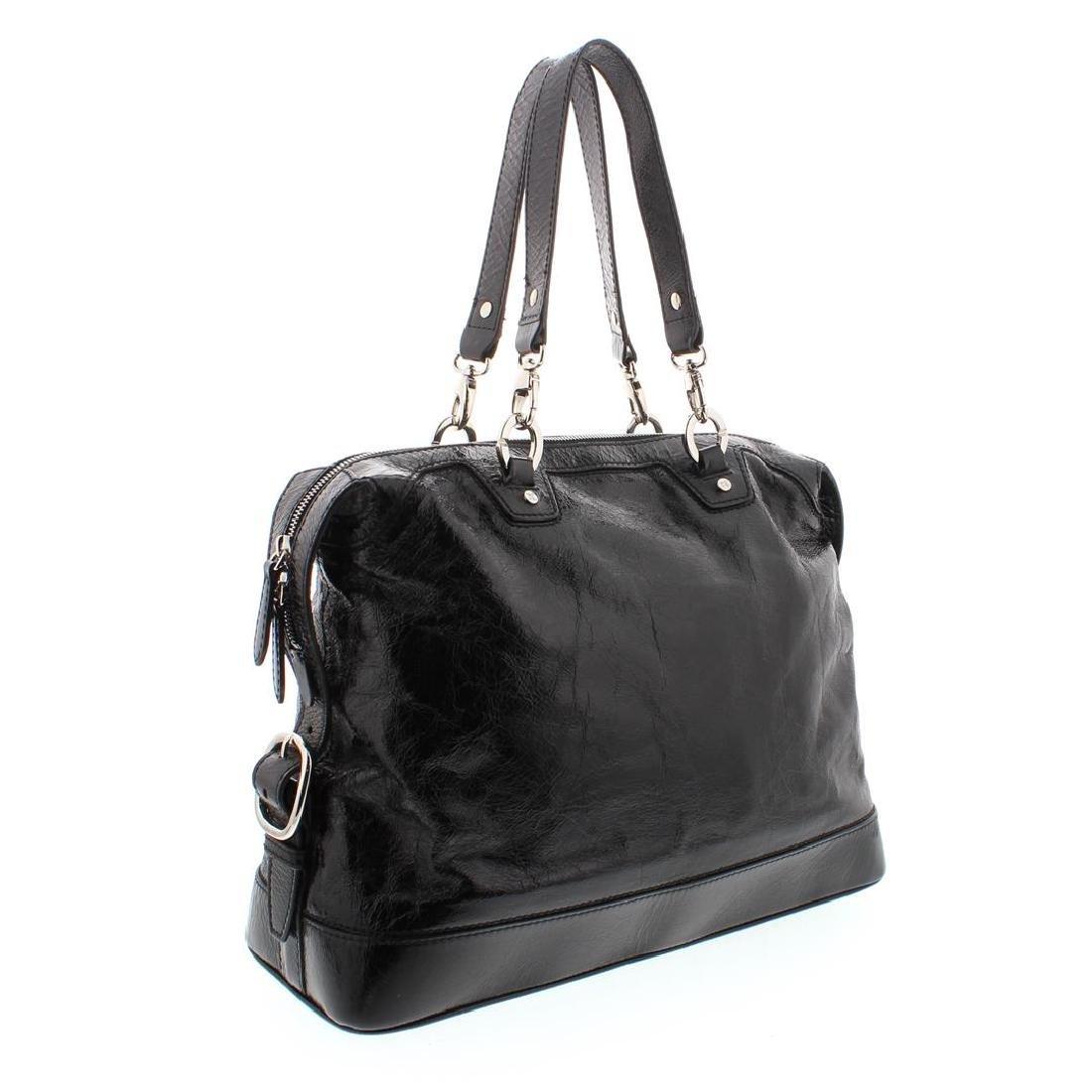 Celine Black Distressed Patent Leather Shoulder Handbag - 4