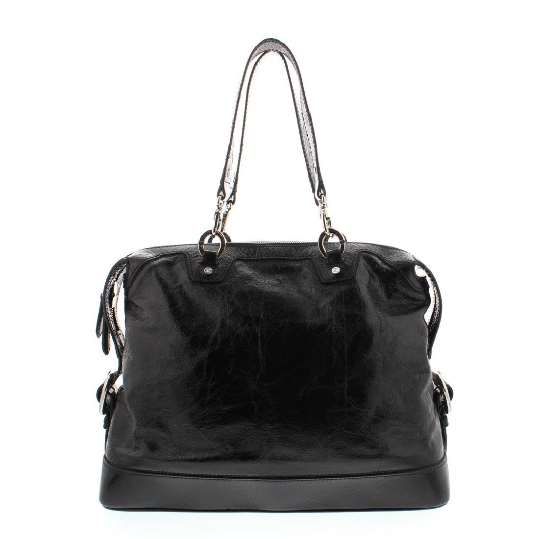 Celine Black Distressed Patent Leather Shoulder Handbag - 5