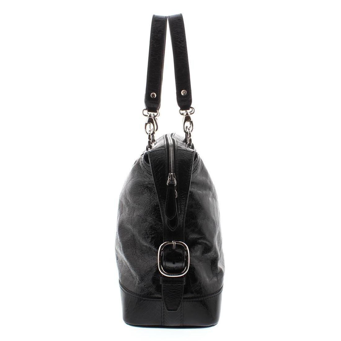 Celine Black Distressed Patent Leather Shoulder Handbag - 6