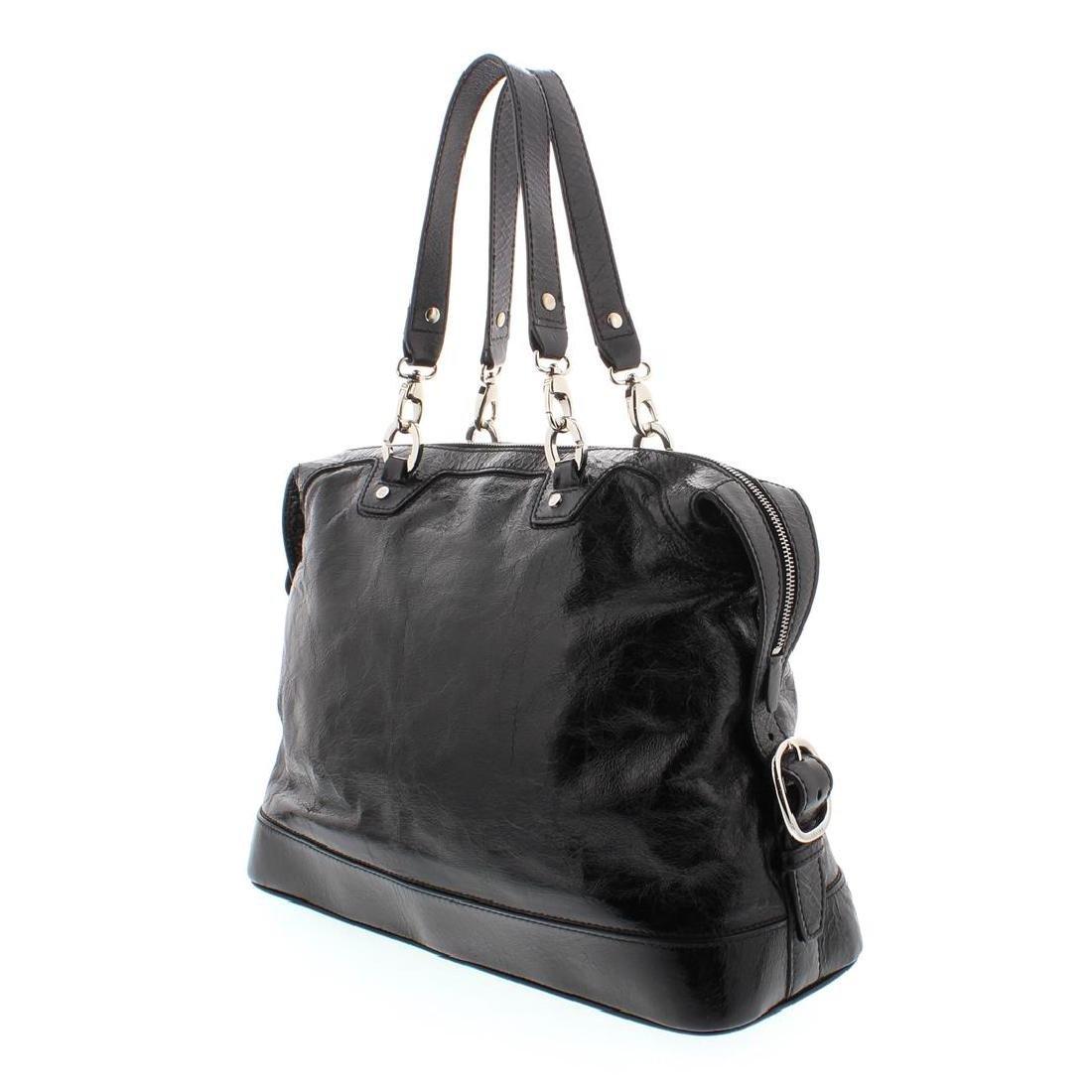 Celine Black Distressed Patent Leather Shoulder Handbag - 7