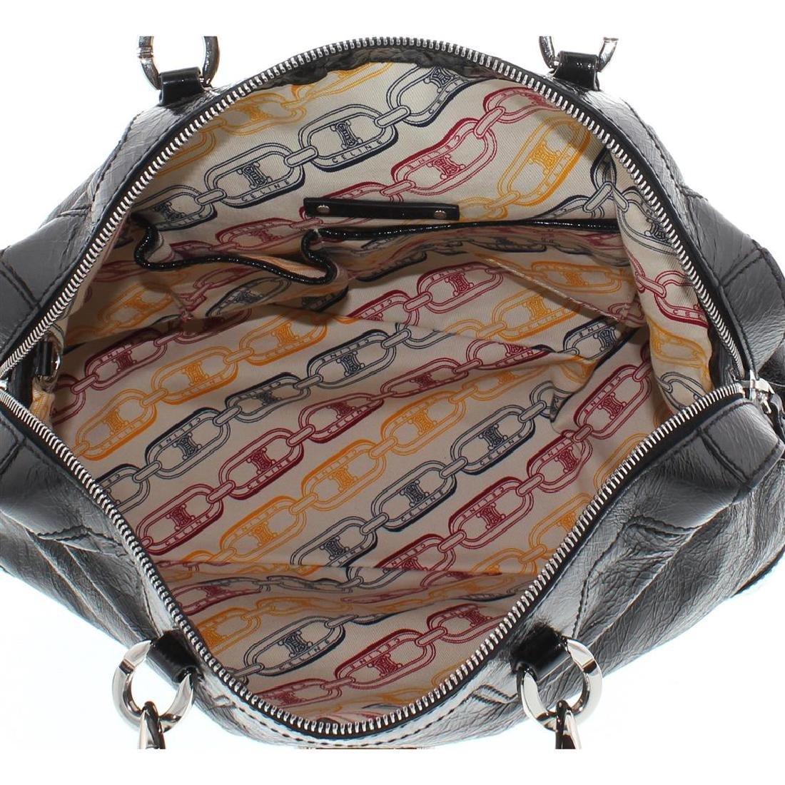 Celine Black Distressed Patent Leather Shoulder Handbag - 9