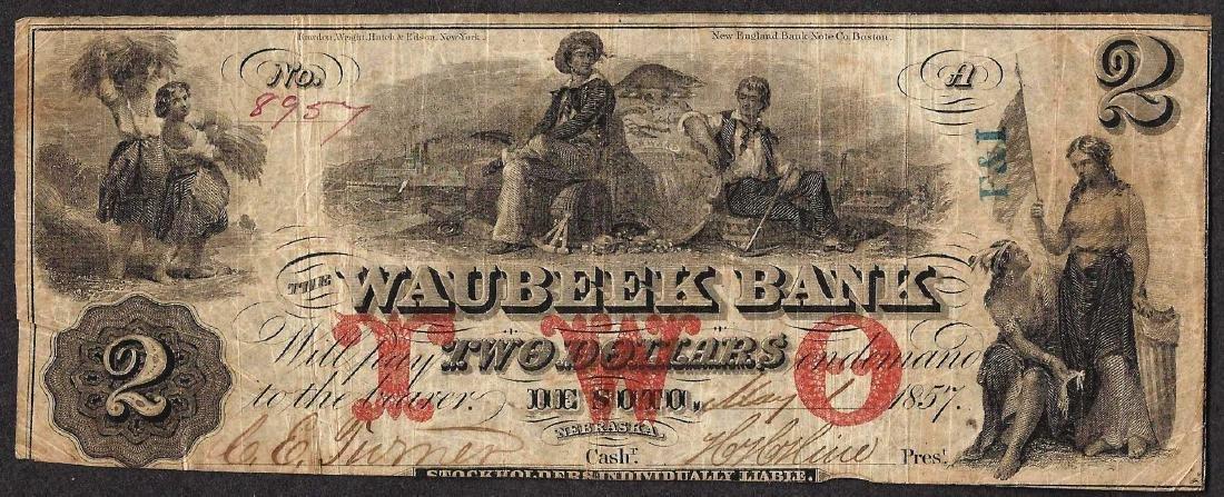 1857 $2 The Waubeek Bank Obsolete Note