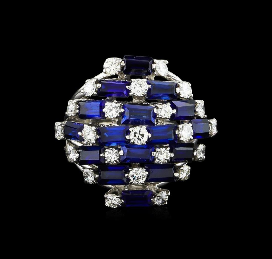 5.00 ctw Sapphire and Diamond Ring - 14KT White Gold - 2