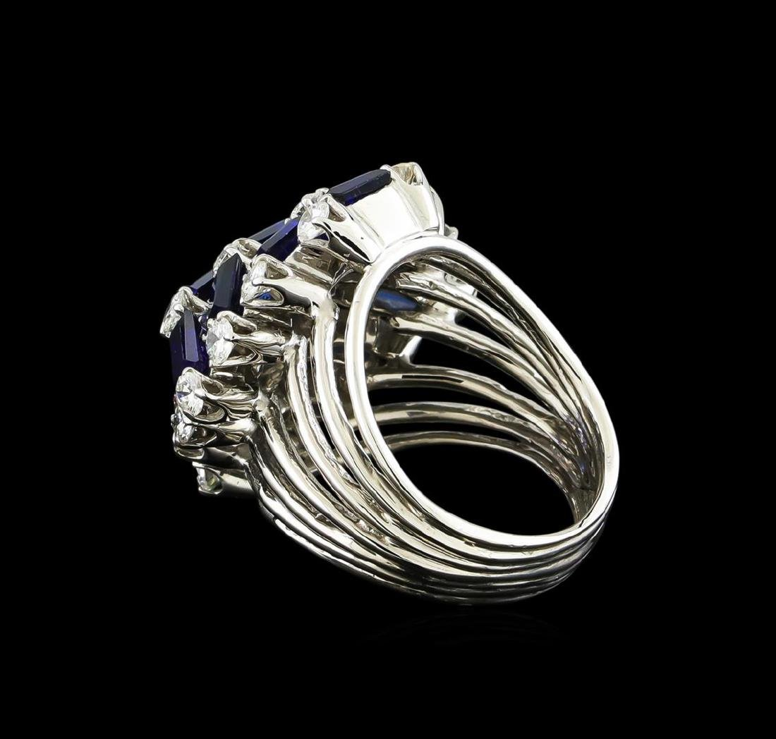 5.00 ctw Sapphire and Diamond Ring - 14KT White Gold - 3
